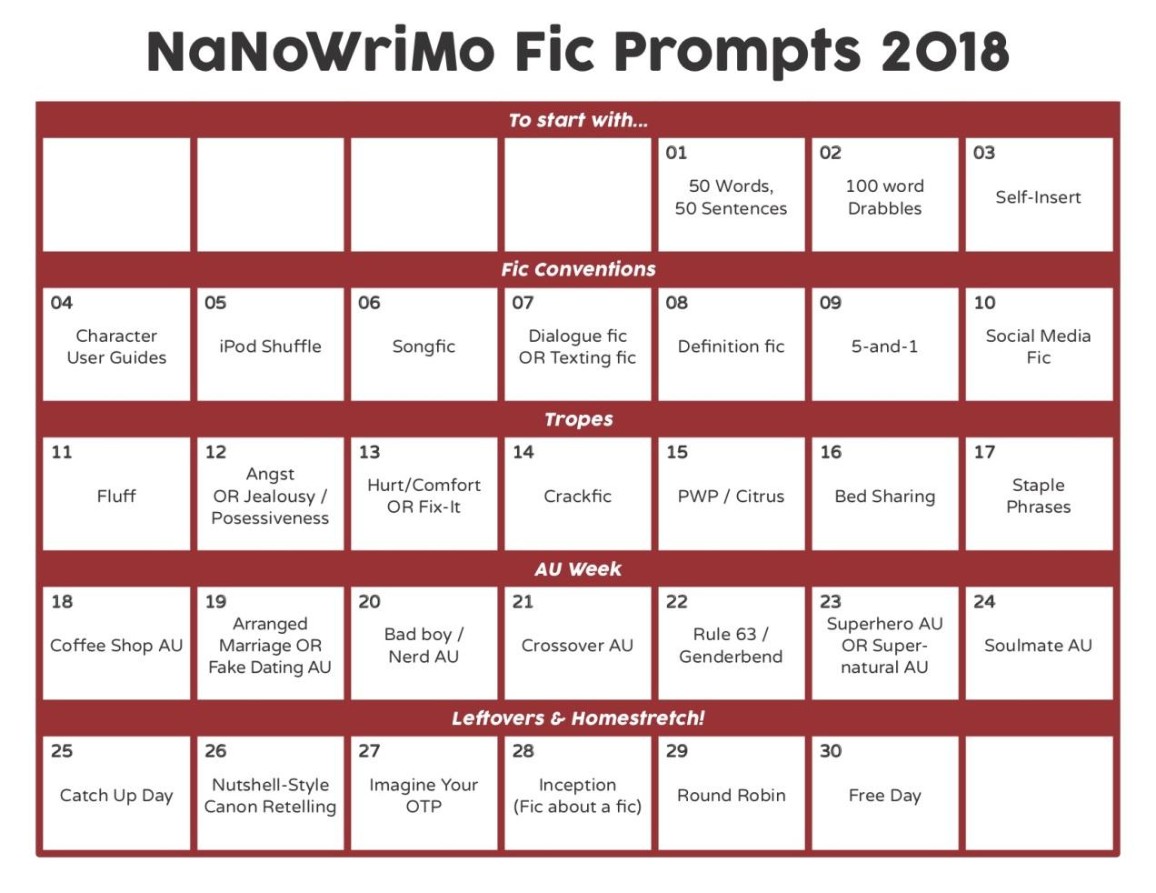 nanowrimo prompt calendar